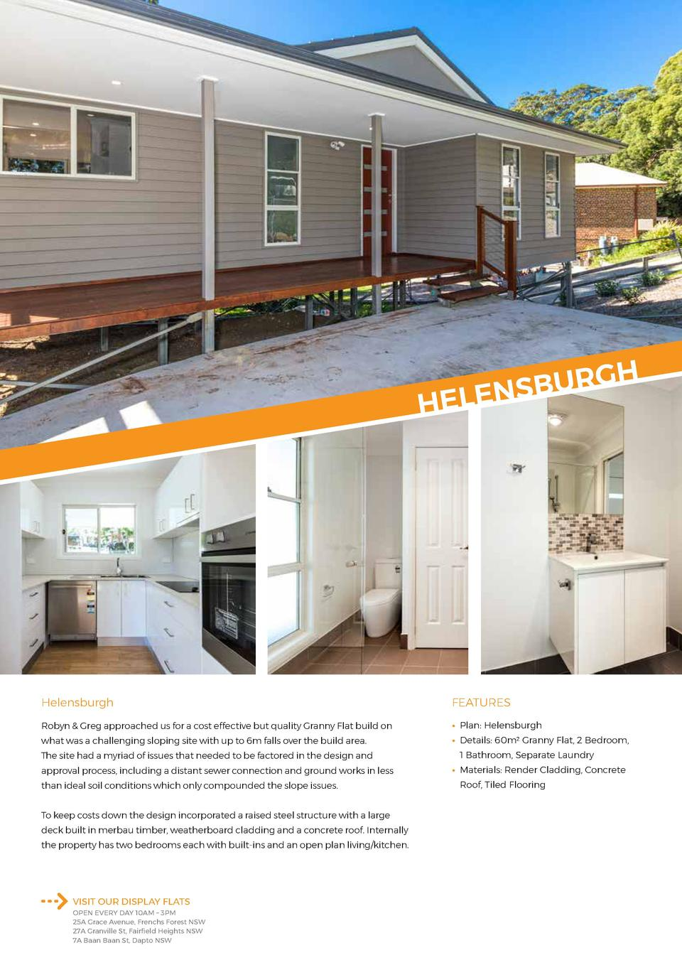 H G R U B LENS  HE  Helensburgh  FEATURES  Robyn   Greg approached us for a cost effective but quality Granny Flat build o...