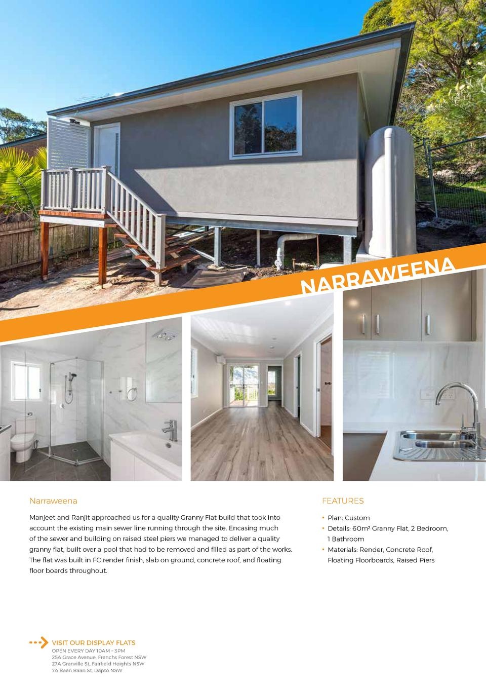 A  EN E W A NARR  Narraweena  FEATURES  Manjeet and Ranjit approached us for a quality Granny Flat build that took into   ...