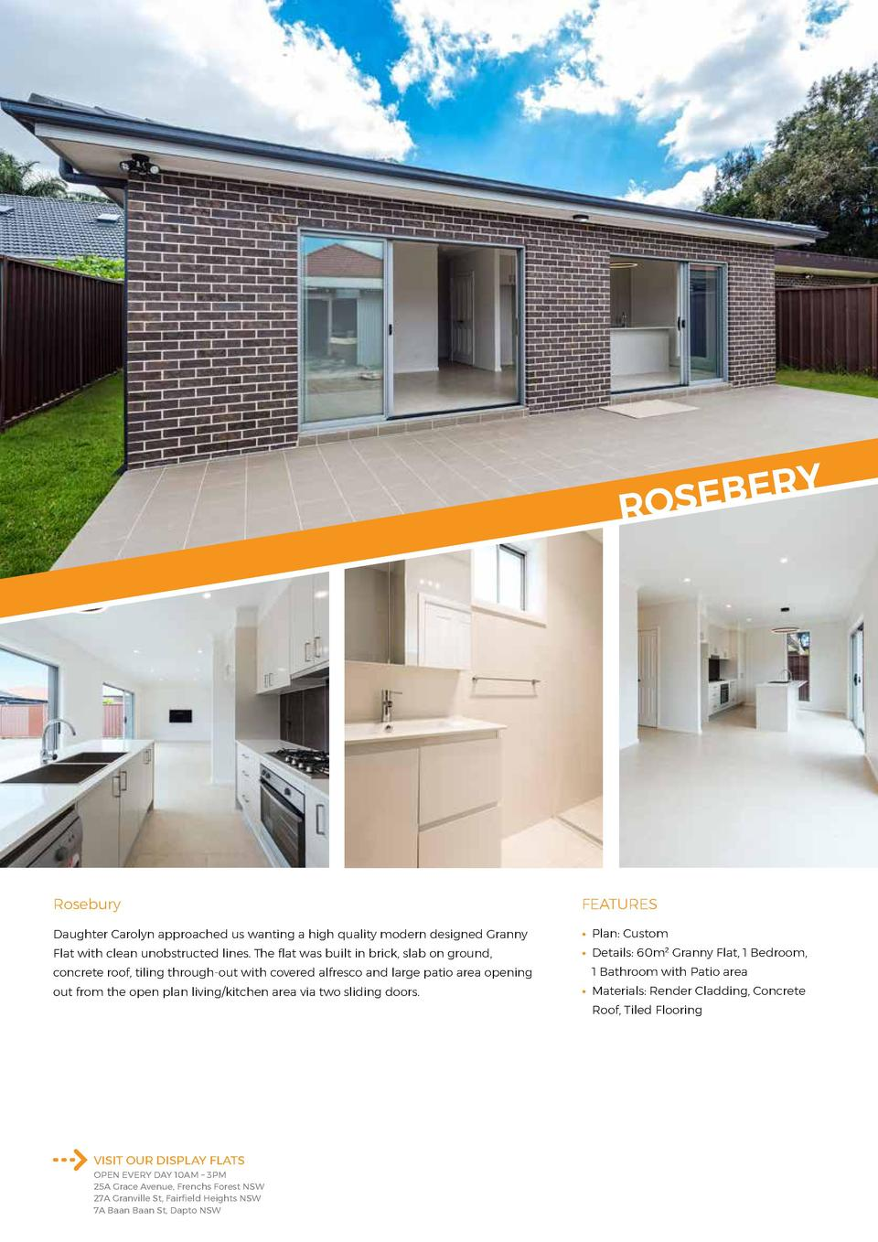 RY E B E S RO  Rosebury  FEATURES  Daughter Carolyn approached us wanting a high quality modern designed Granny      Plan ...