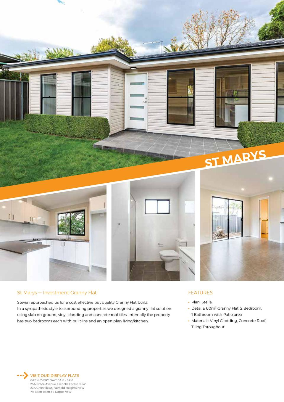 YS R A M ST  St Marys     Investment Granny Flat  FEATURES  Steven approached us for a cost effective but quality Granny F...