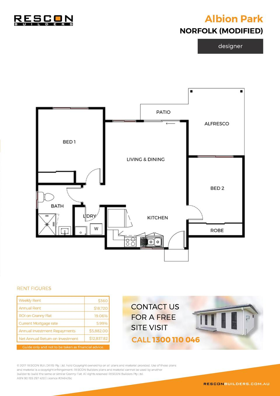 Albion Park  NORFOLK  MODIFIED  designer  RENT FIGURES Weekly Rent   360  Annual Rent   18,720  ROI on Granny Flat  19.06 ...