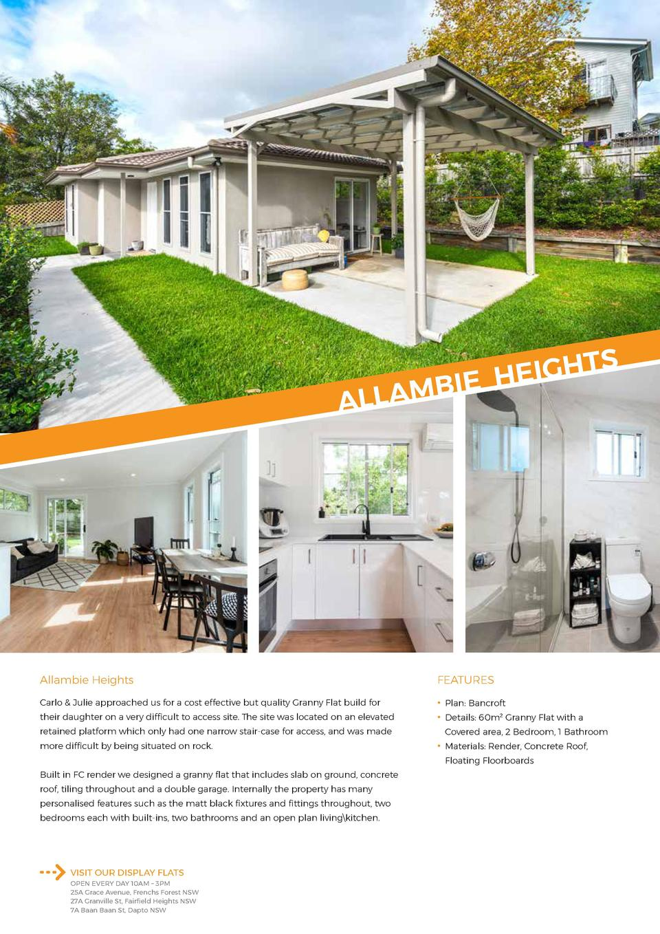 TS H G I E E H I B M A ALL  Allambie Heights  FEATURES  Carlo   Julie approached us for a cost effective but quality Grann...