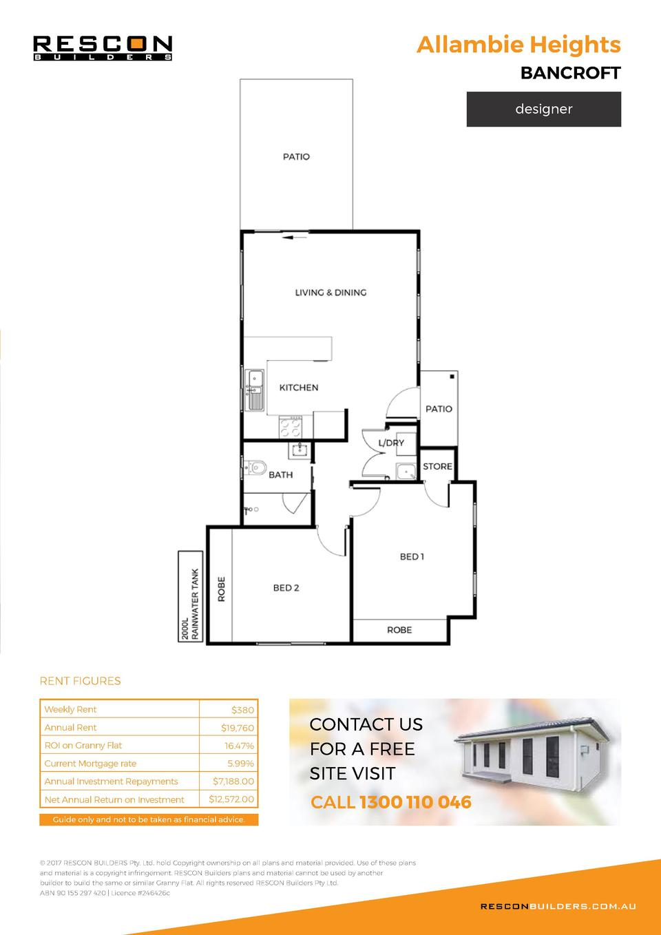 Allambie Heights BANCROFT  designer  RENT FIGURES Weekly Rent   380  Annual Rent   19,760  ROI on Granny Flat  16.47   Cur...